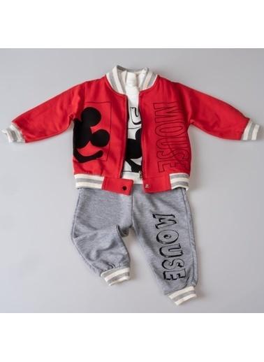 POKY Baskılı Şık Tasarım Yeni Sezon Erkek Bebek Çocuk 3'Lü Takım-13209 Kırmızı